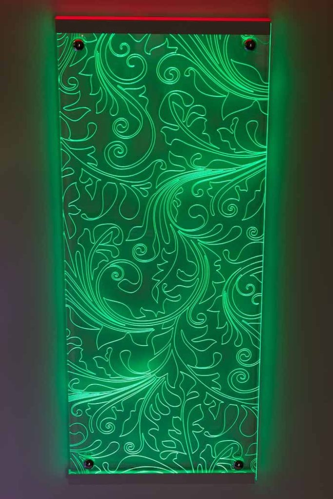laser engraved led lit acrylic design